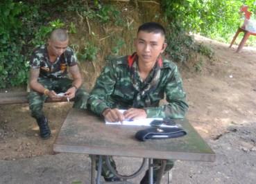 Thai Soldiers, Prasat Ta Muan Thom, Khmer Temples in Surin Thailand