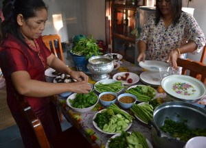 Food Preparation, Buddhist Monk Blessing Ceremony for Health, Thailand