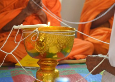 Making Holy Water, Buddhist Monk Blessing Ceremony for Health Thailand