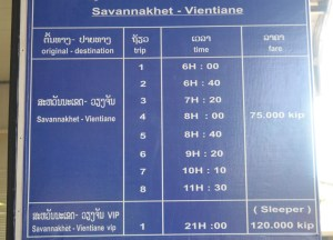 Bus Times for Savannakhet to Vientiane by Bus, Travel in Southern Laos