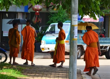 Monks at Wat Luang Temple, Things to do in Pakse City Southern Laos