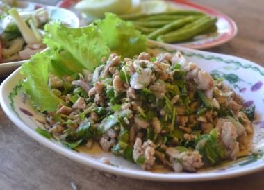Spicy Pork Salad, Thai Isaan Food, Eating in Northeastern Thailand
