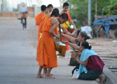 Offering to Monks, Things to do in Savannakhet Laos Southeast Asia