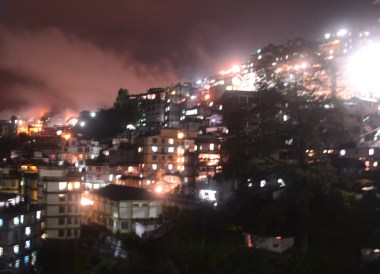 Mountain Town at Night, Taxi to Gangtok from Bagdogra, NJP, Road to Sikkim