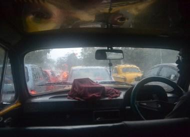 Taxi in Heavy Rain, Weather in Monsoon Season in Kolkata, West Bengal, India