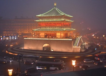 Xian Bell Tower at Night, City Centre of Xian China