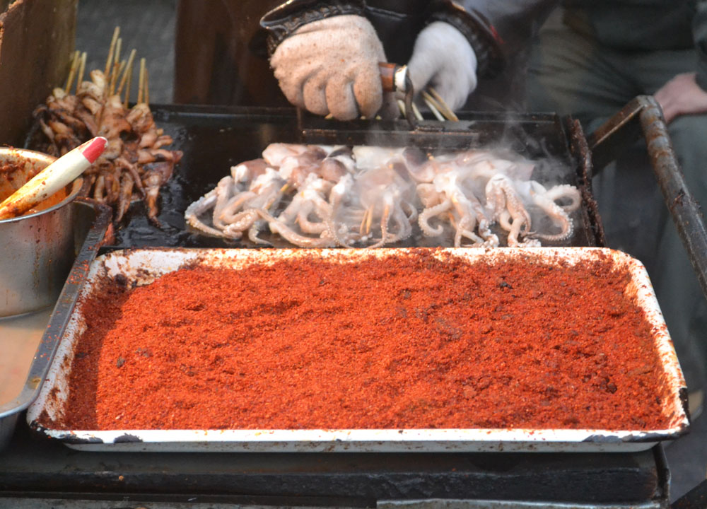 Grilled Squid Kebabs, Chinese Street Food in China, Xian