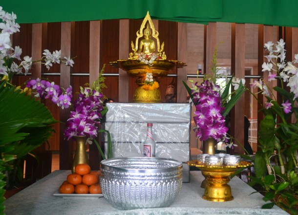 Altar for Buddhist Ceremonies, Songkran Temple Ceremony, Song Nam Pra