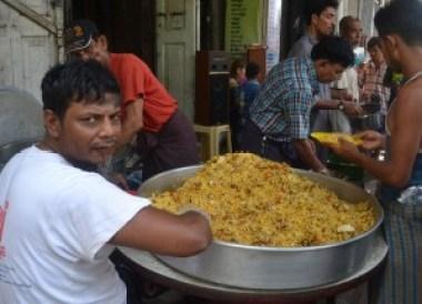 Free Indian Food Biriyani, Thingyan Water Festival in Yangon, Myanmar Songkran