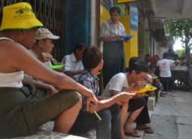 Roadside Feasts with Free Food, Thingyan Water Festival in Yangon, Myanmar Songkran