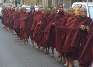 Morning Procession of Monks, Cheapest Thai VISA Runs from Bangkok Thailand