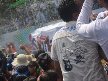 Soaked at the Main Stage, Thingyan Water Festival in Yangon, Myanmar Songkran