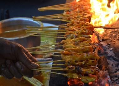 Flaming Satay Skewers, Top Malaysian Food, Eating in Malaysia