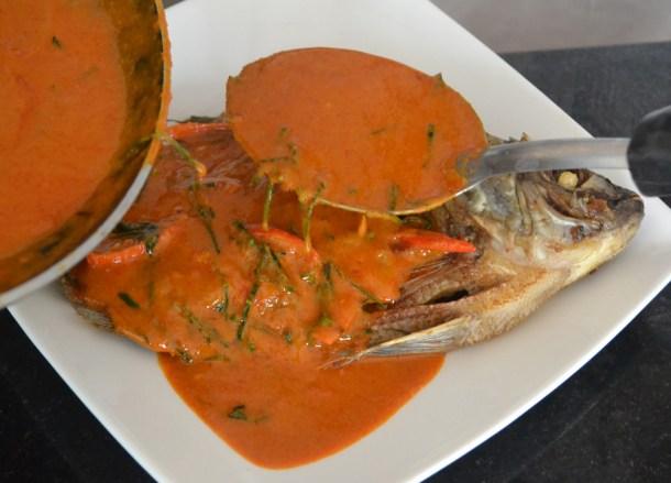 Chu Chee Pla Curry Fish, Thai fried fish, Thailand