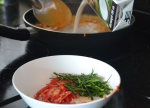 Coconut Milk into Curry, Thai fried fish, Thailand