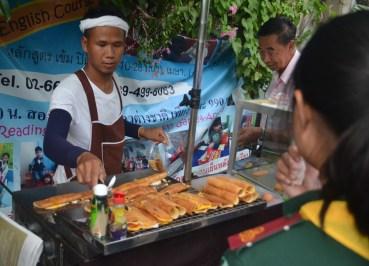 Sausage in Crepes, International Street Food in Bangkok