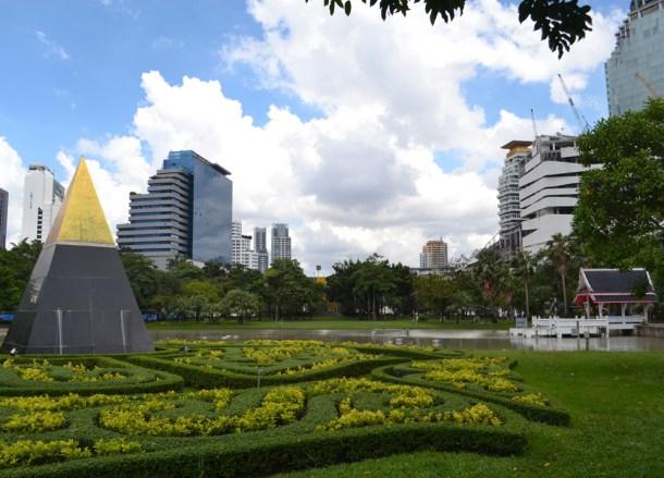 Flower Beds, Benjasiri Park in Sukhumvit Queens Park, Bangkok