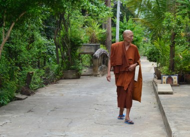 Local Buddhist Monk, best places for cycling in Bangkok