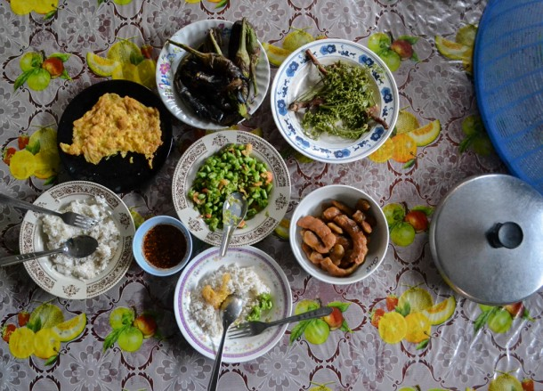 Breakfast Table, Living in Rural Thailand, Isaan North East Thailand