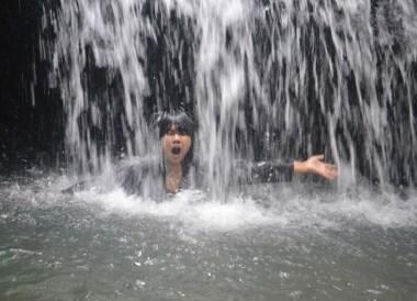 Under Waterfall in Brunei, Phobias in Borneo Rainforests