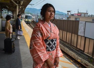 Train in Kimono, Essentials for Japan Rail Travel, JR Pass. Pocket Wifi. Hyperdia