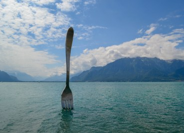 Giant fork of Revey, Rear-Ended by a Cyclist at Lake Geneva, and the Giant Fork