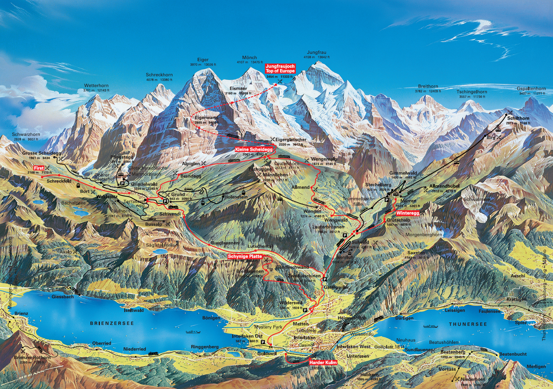 Top Attractions on Jungfrau 3 Day Travel Pass Trains Cablecars
