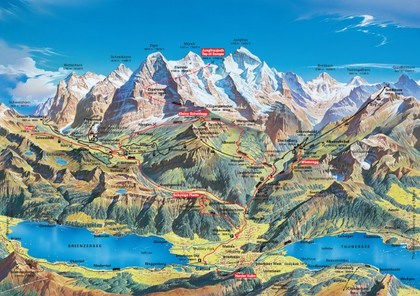 Tourist Map for Jungfrau 3 Day Travel Pass Best Attractions