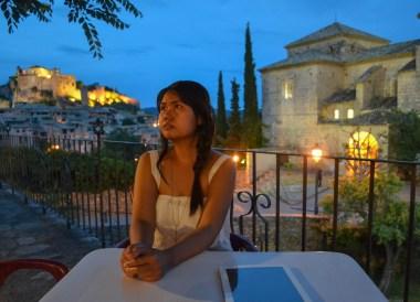 Al Fresco Dining, Town Centre, Alquezar Huesca, Northern Spain, Medieval Village