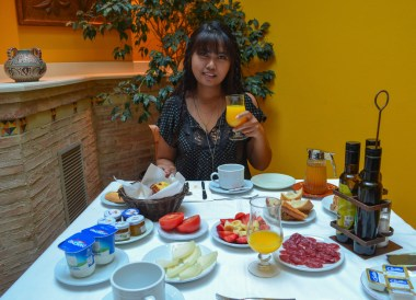 Breakfast in Alquezar Huesca, Northern Spain, Medieval Village