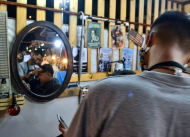 Local Barbershop, Huamum Night Market in Bangkok Thailand