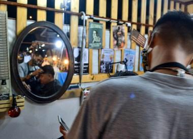 Local Barbershop, Huamum Night Market in Bangkok Thailand