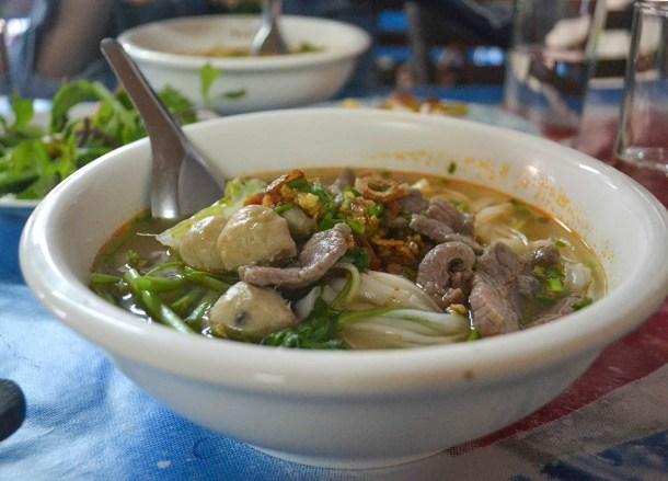 Noodle Soups, Best Khao Jee Lao Sandwich in Vientiane Laos Riverside
