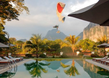 Microlight aircraft, Luxury Vang Vieng Hotel Riverside Boutique Resort Spa