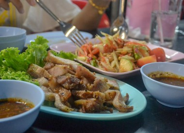 Grilled Pork Neck, Thai Isaan Food, Eating in Northeastern Thailand