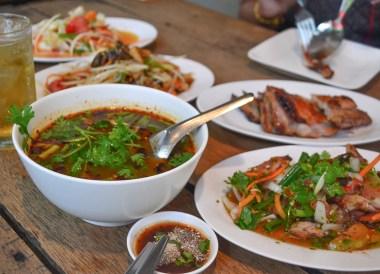 Pork Bone Soup, Thai Isaan Food, Eating in Northeastern Thailand