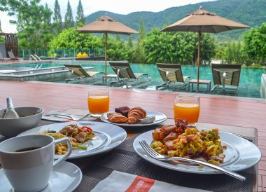 Breakfast at Pool, Romance in Khao Yai DusitD2 Resort Thailand