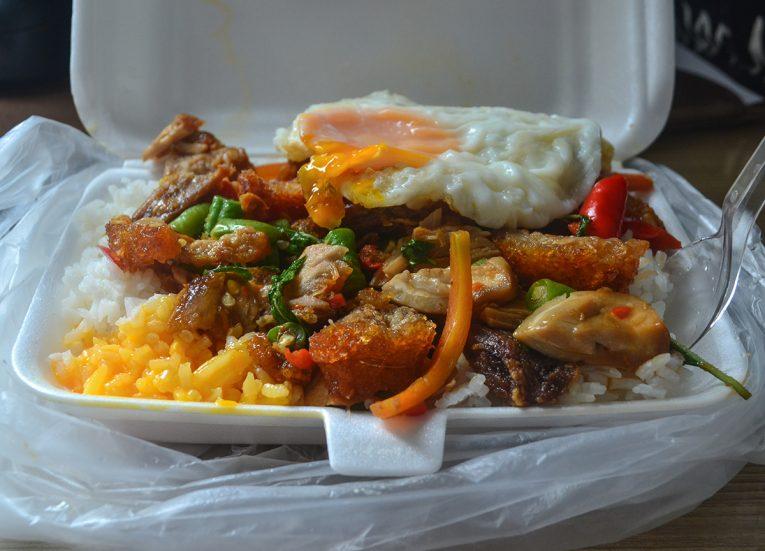 Kaprao Moo Grob Crispy Pork Belly with Holy Basil Bangkok Street Food