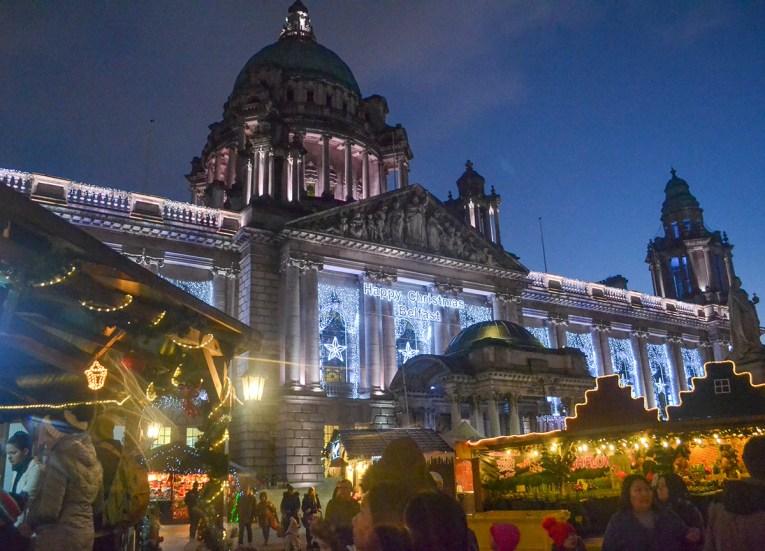 Night time at Belfast Christmas Market, Continental Market Northern Ireland