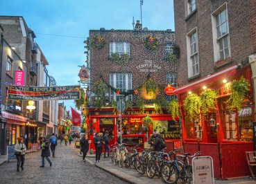 Temple Bar at Christmas in Dublin City Centre Ireland