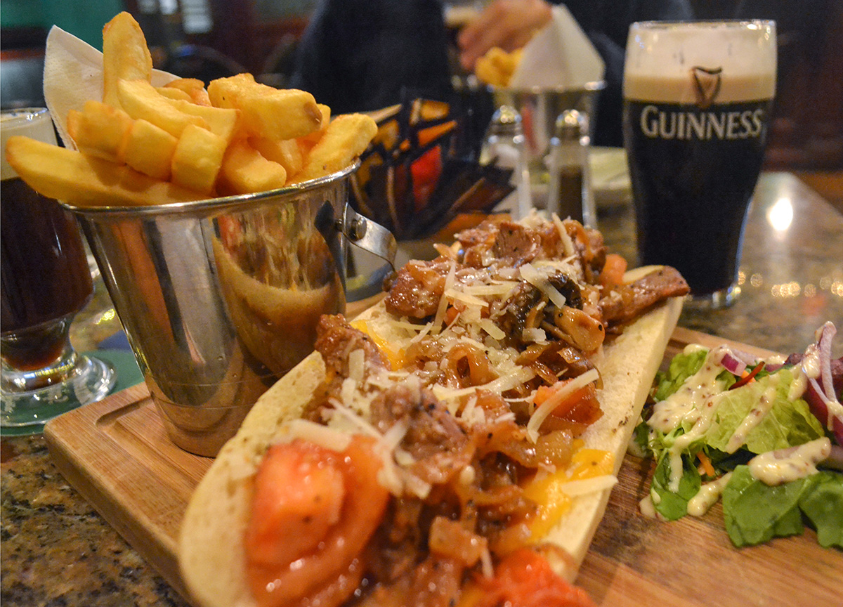 Steak Baguette, Christmas in Dublin City Centre Ireland