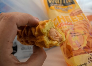 Cheese Sausage Waffle, Seven Eleven 7-11 Food in Bangkok Thailand