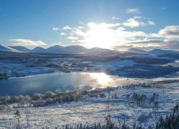 Loch Loyne Viewpoint Winter Road Trip in the Scottish Highlands Snow Scotland