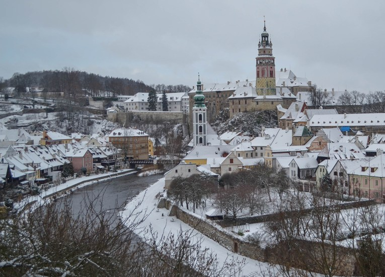 Winter in Cesky Krumlov in Winter Snow, Czech Republic