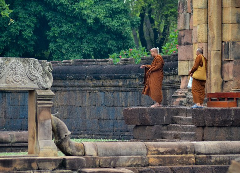 Monks at Muang Tam Temple, Top Tourist Attractions in Buriram Thailand