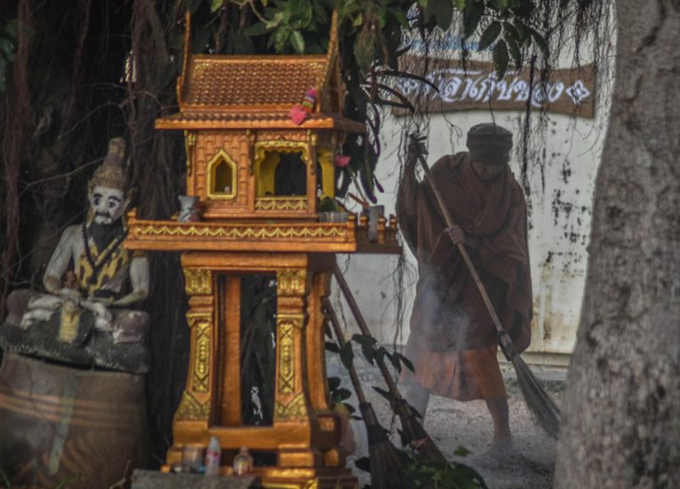 Monks Huddled Round Fires Life in Rural Thailand Isaan