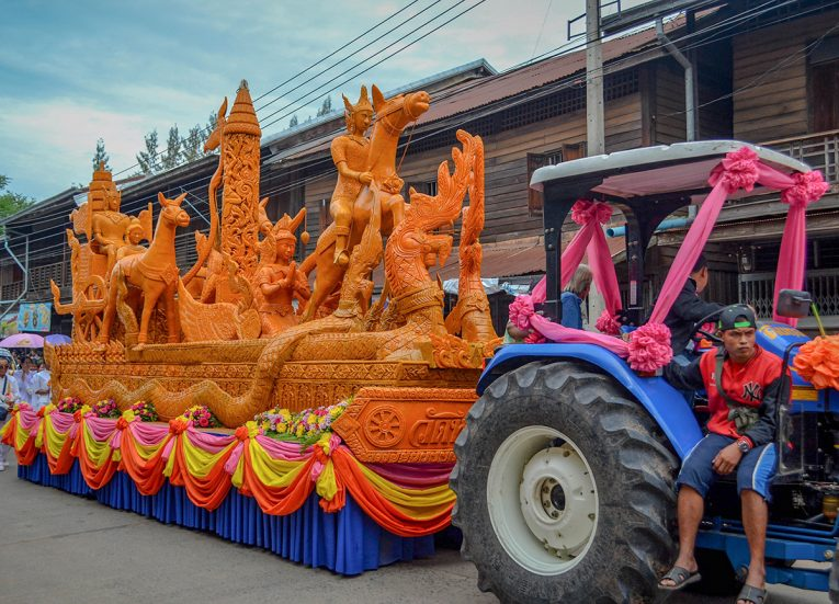 Tractor Pulling Candle Float, Big Candle Festival in Isaan Thailand for Thai Lent (2)