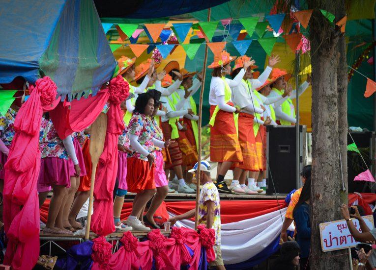 Ladies Doing Rumwong Dance Celebrating Songkran Festival in Thailand