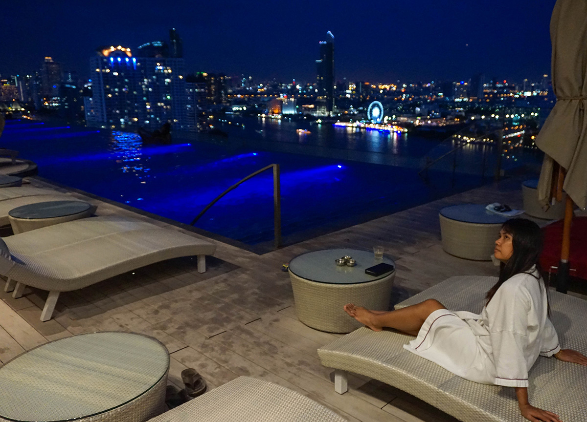 Swimming Pool at Night, Avani Riverside Hotel, Chao Phraya River, Bangkok