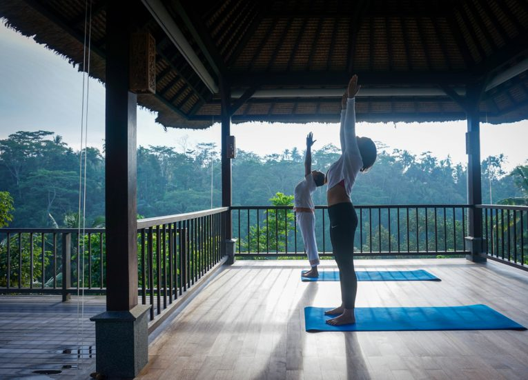 Sunrise Yoga at HOSHINOYA Bali Resort Luxury Pool Villas in Ubud